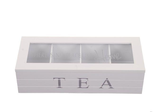 Keittiön sisustus - Tee-laatikko valkoinen 4 pussilokeroa - Hyvän Tuulen Puoti