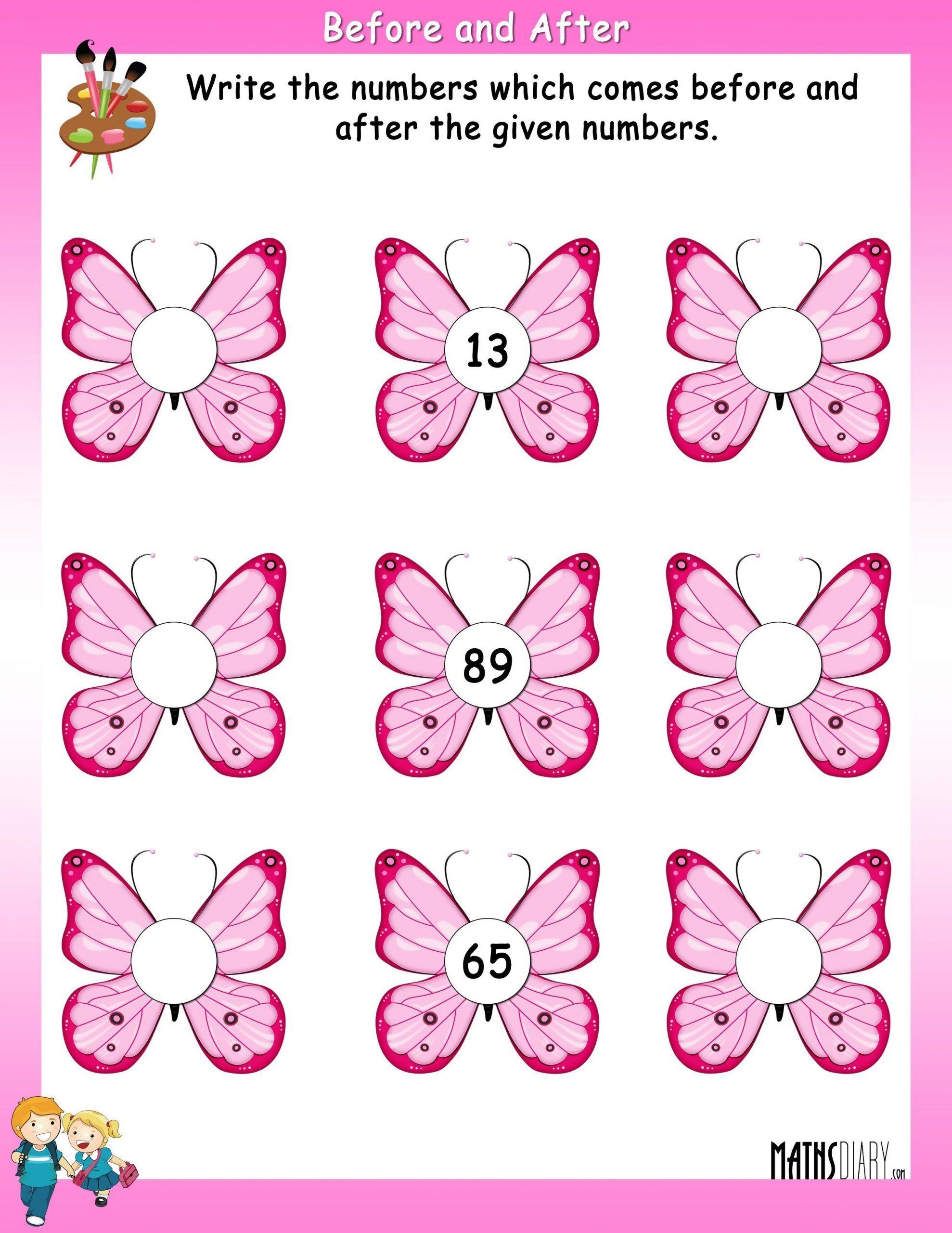 Before And After Number Worksheets Kindergarten Worksheet