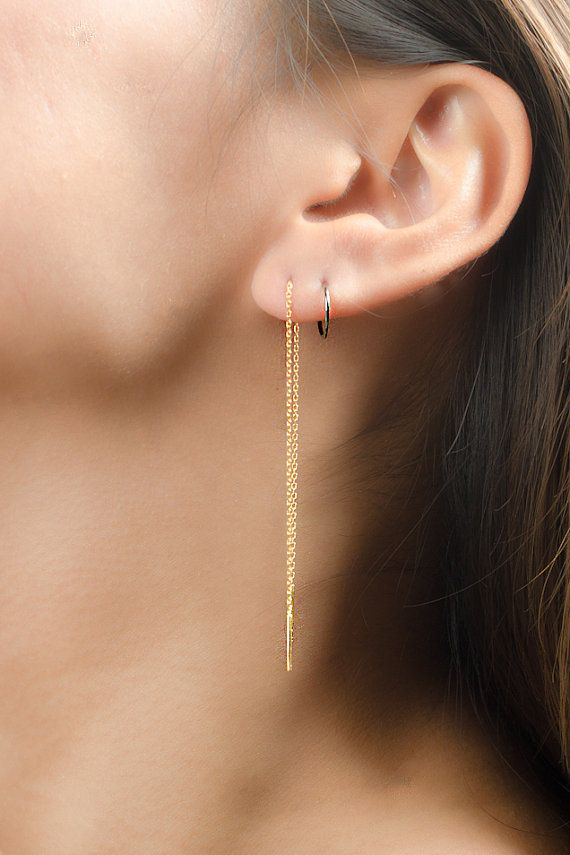Long Chain Earrings Yellow Gold Threader Delicate Stick Minimalist Edgy Jewelry Hand Made Gift For Mom Ea023