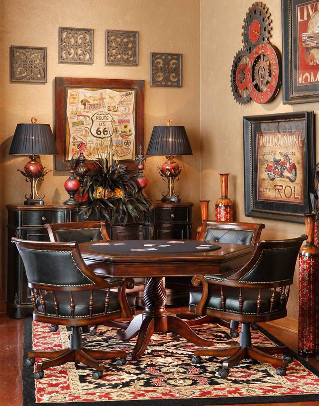 Card Table Area Game Room Poker Table And Chairs Game Room Bar
