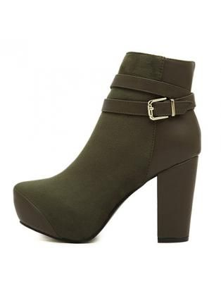 Common Zip Closure Platform Design Army Green Boots with Buckle