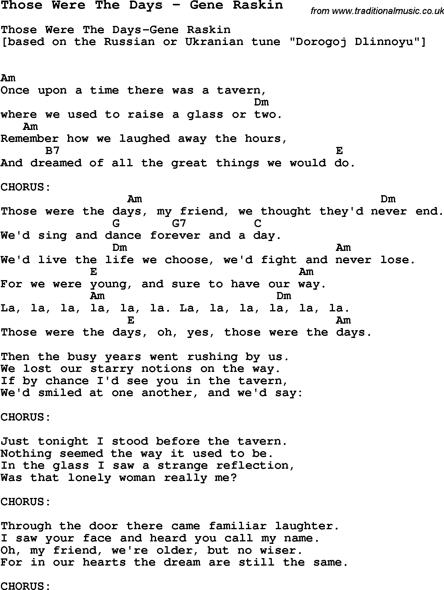 Song those were the days by gene raskin with lyrics for vocal song those were the days by gene raskin song lyric for vocal performance plus accompaniment chords for ukulele guitar banjo etc hexwebz Gallery