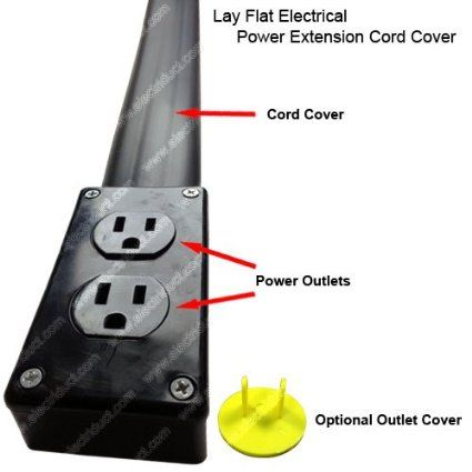 Flat Electrical Power Extension Cord Good For Under Rugs Cord Cover Extension Cord Electricity
