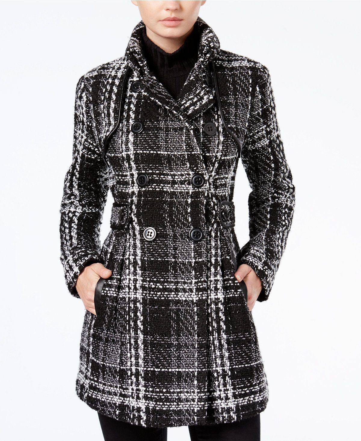 Bcx Juniors Plaid Belted Peacoat Juniors Coats Macy S Plaid Peacoat Plaid Fashion Peacoat Women [ 1467 x 1200 Pixel ]