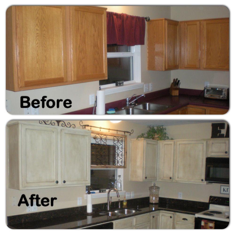 Kitchen Cabinet Restoration Ideas: Kitchen DIY Using Rustoleum Cabinet Transformation.