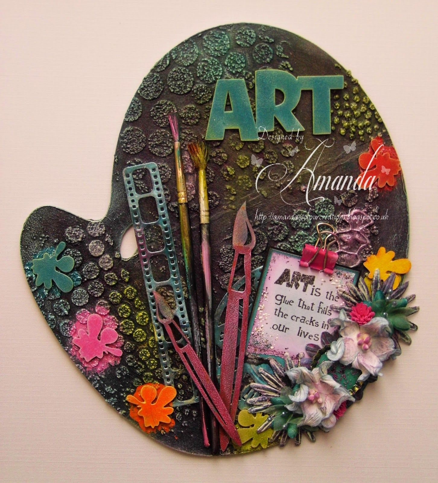 Amanda' Colour Creations Altered Artist Paint Palette