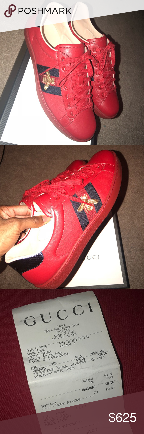 Authentic Gucci Sneakers worn once size