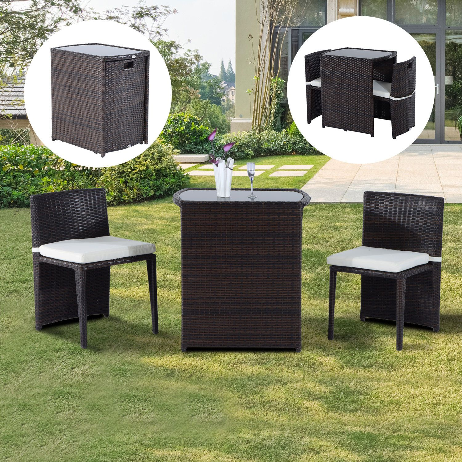 Outsunny Rattan Wicker Furniture Set 3Pc Cushioned Outdoor Patio
