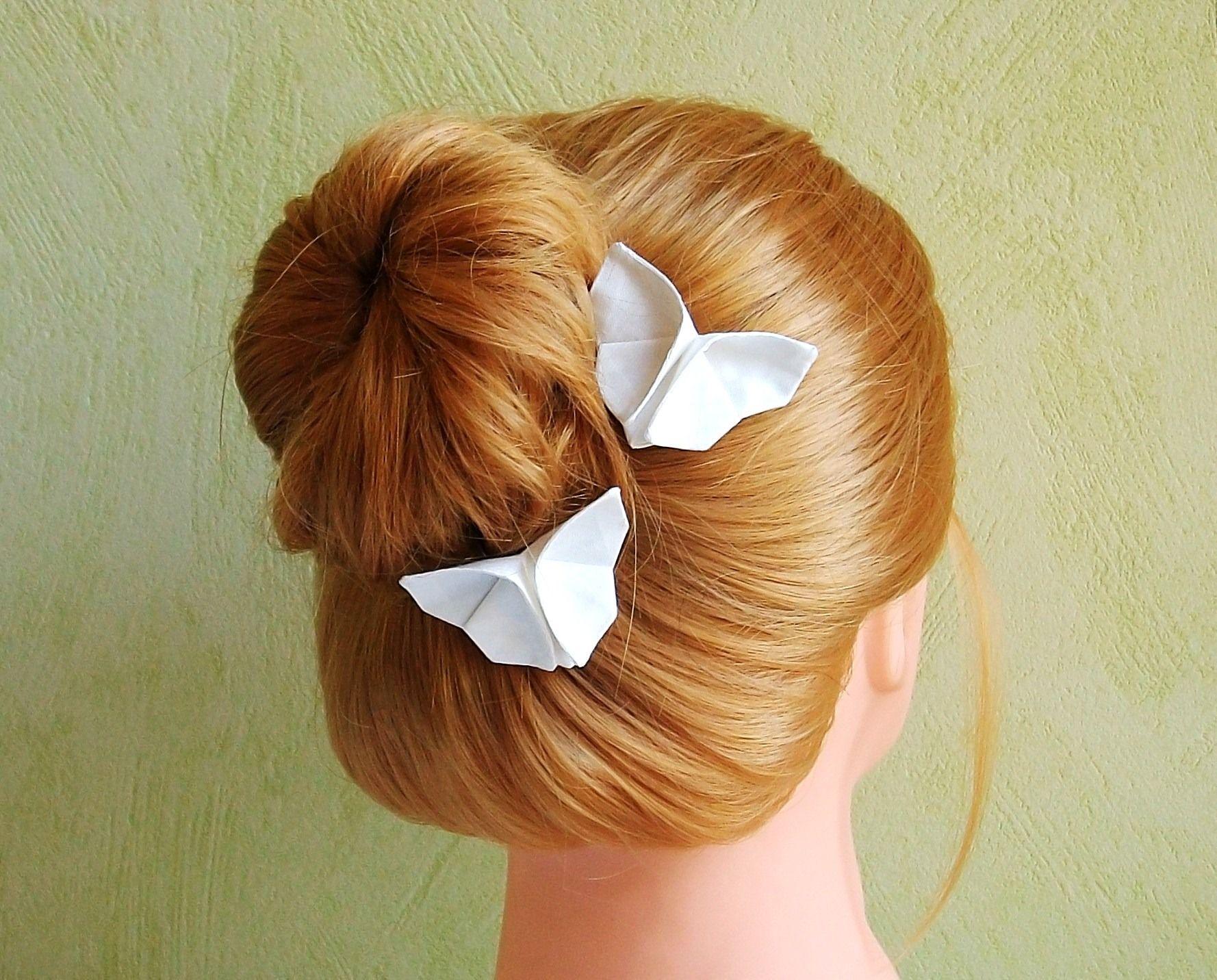 pinces papillon origami en tissu soie blanc ivoire id ales pour mariage accessoires cheveux. Black Bedroom Furniture Sets. Home Design Ideas