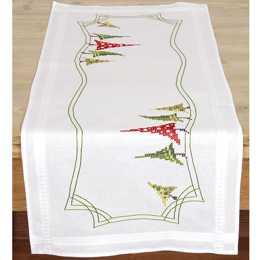 Modern christmas trees table runner cross stitch