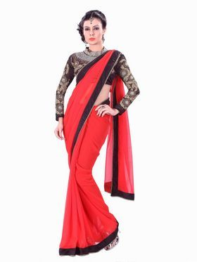 f82e1fc20f3bcd Beautiful embroidered blouse and plain red georgette saree with black  borders is rich   classy combination