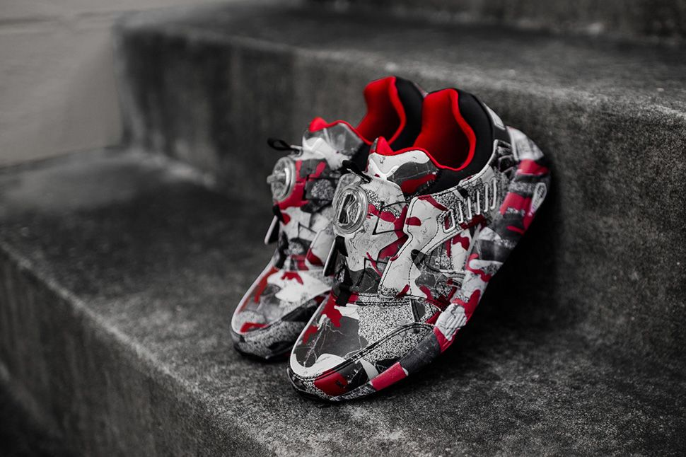 PUMA and Trapstar have collaborated on a new colourway on the classic PUMA  Disc Blaze. The sneaker is fitted in a camo style pattern th. c635826b5