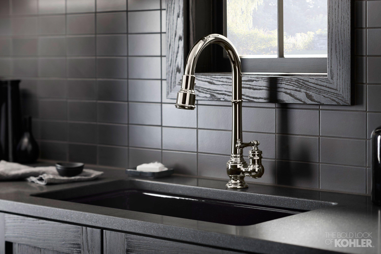 Gentleman S Black Kitchen Kohler Ideas Kitchen Sink Faucets Sink Faucets Black Kitchens