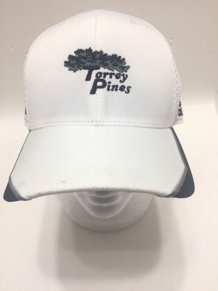 2d8bcbd1674 Adidas Torrey Pines Baseball Hat. Hat is pre-owned and clean except for 1  small smudge on Bill. White With Black Trim with Silver.