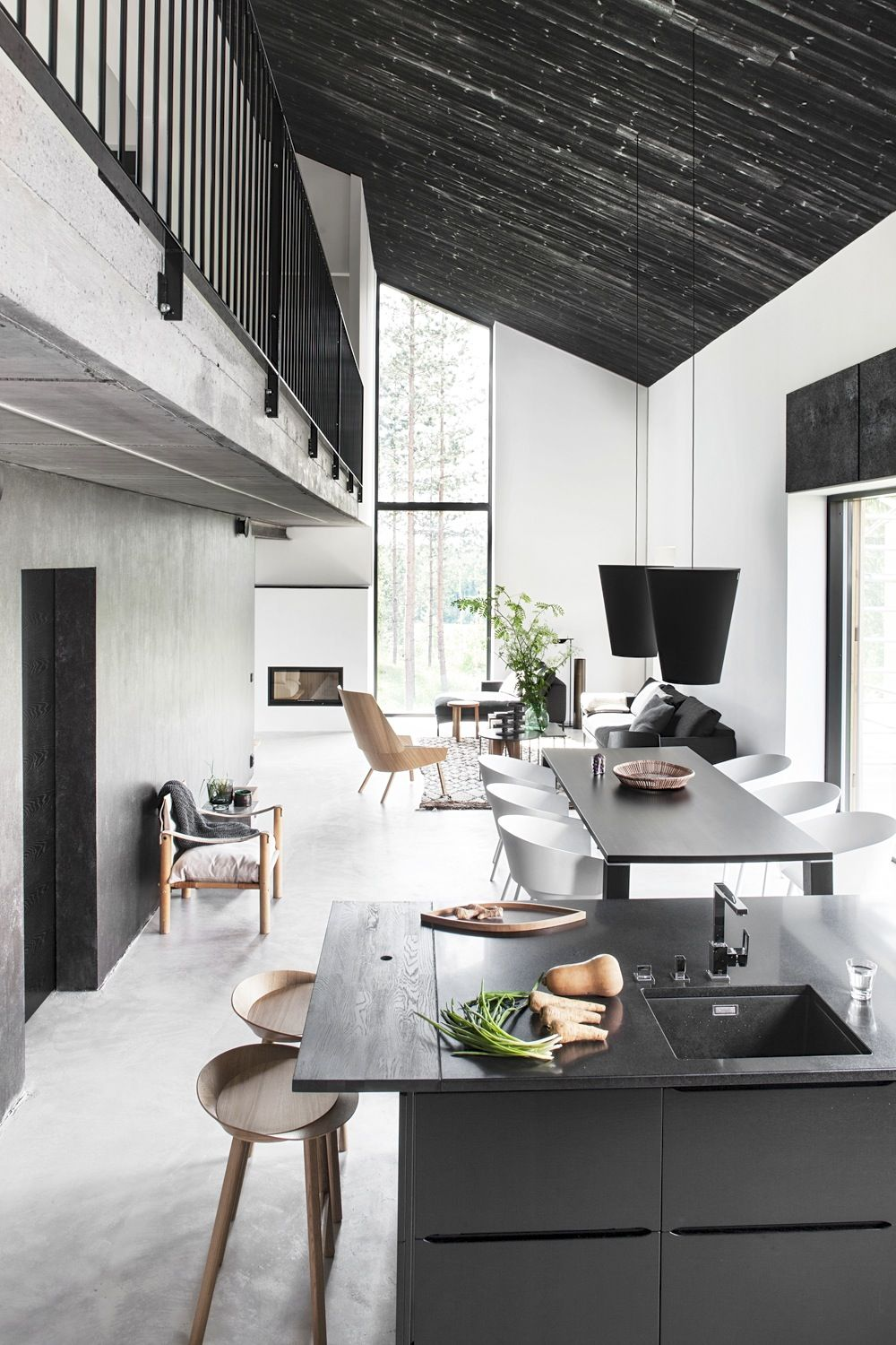 Home Design Open Floor Plan Narrow House Living Room Dining Kitchen Black Ceiling Loft Second Two Story Cool Minimalist D