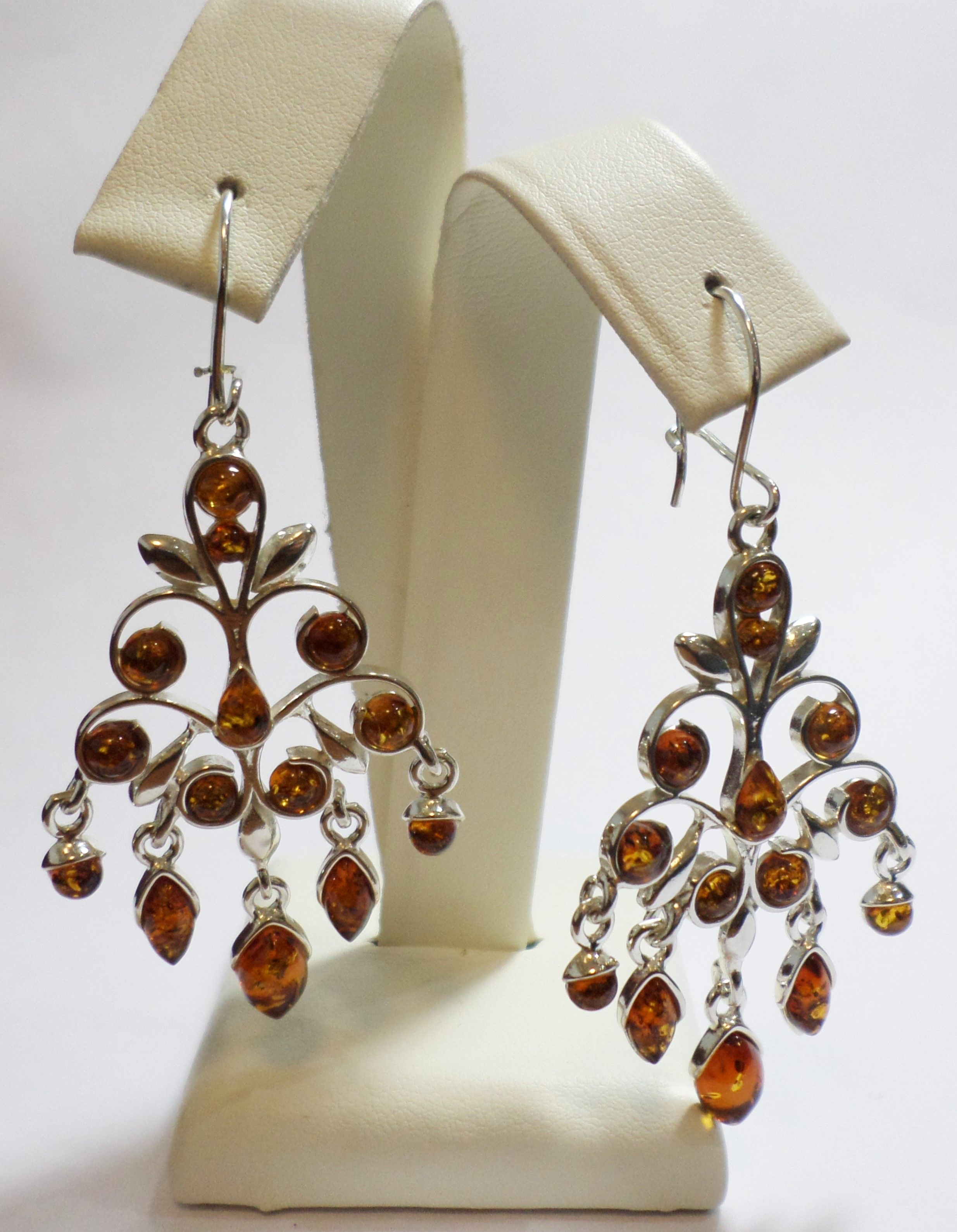 Jewellery Sterling Silver Drop Wire Hook Earrings Set With Amber ...