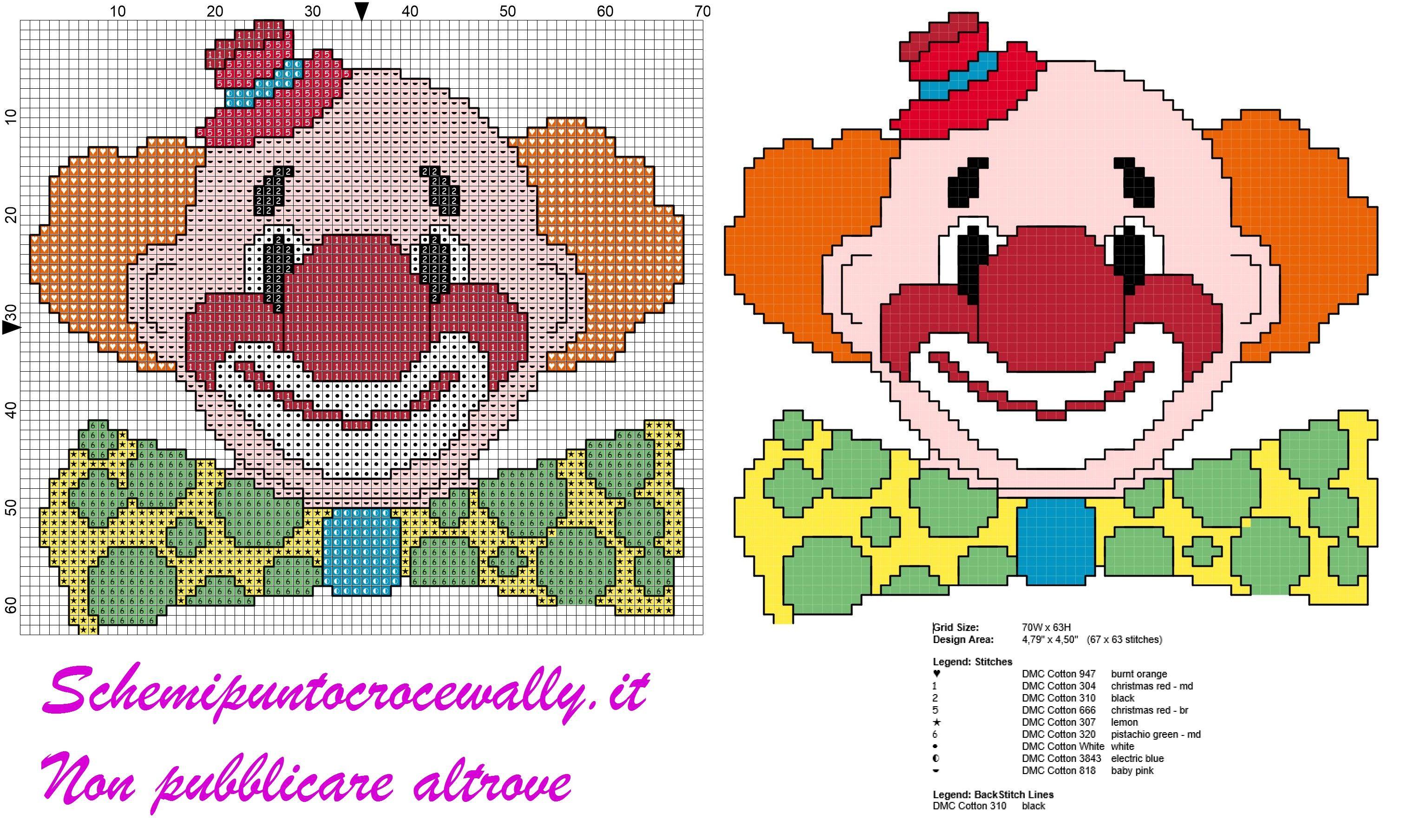 Schema punto croce gratis per bambini viso pagliaccio for Farfalle a punto croce per bambini