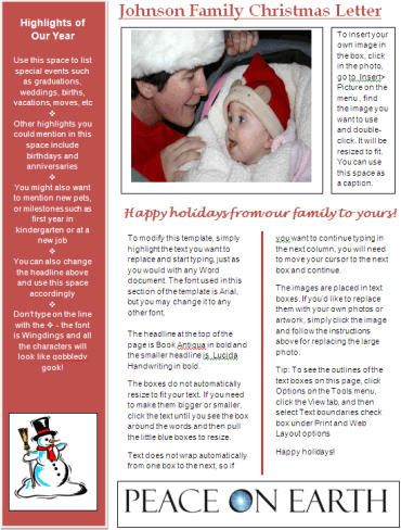 How to Write a Family Christmas Letter (to insert in Christmas - newsletter template for word