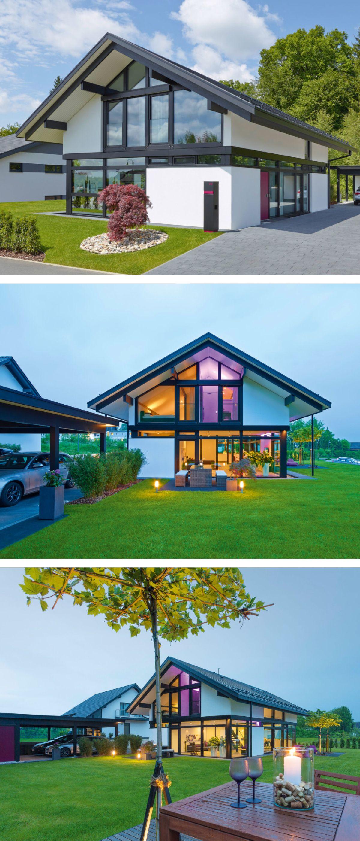 moderne fachwerk haus architektur mit satteldach holz glas fassade einfamilienhaus als fertighaus bauen
