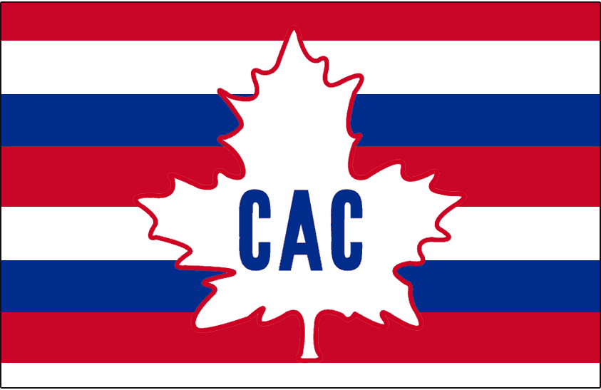 Montreal Canadiens Jersey Logo 1913 Cac Maple Leaf Logo On A Red White And Blue Barberpole Striped Jersey Worn Dur Montreal Canadiens Canadiens Montreal