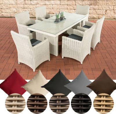 Poly-Rattan Sitzgruppe FONTANA (6 Stühle + Tisch 180 x 90 cm), 5 mm