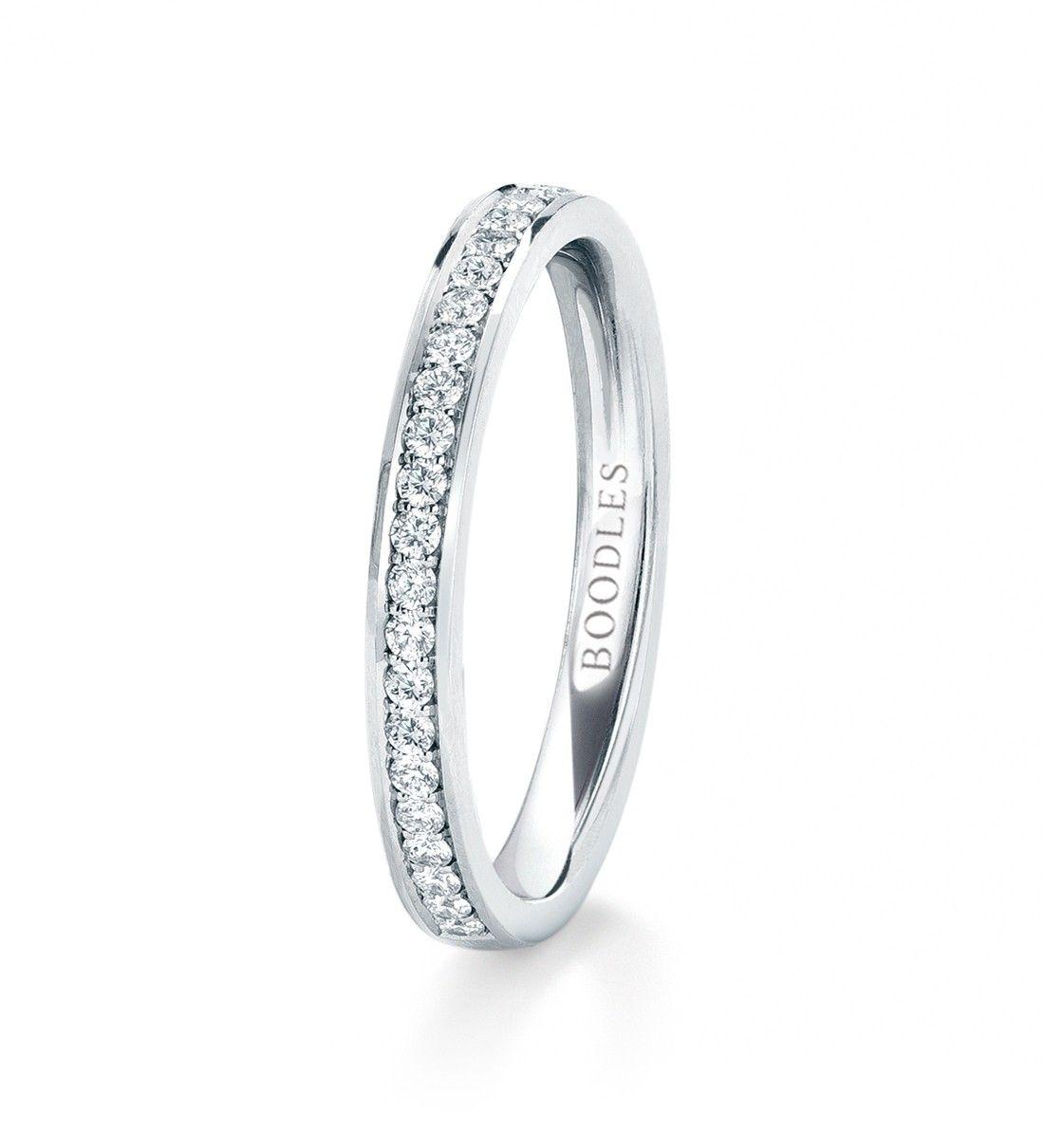 Harmony Half Hoop Diamond Wedding Band . In platinum with diamonds