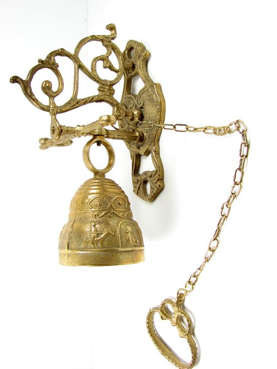 Vintage Br Bell With Chain Wall Hanging By Thirdshift 60 00