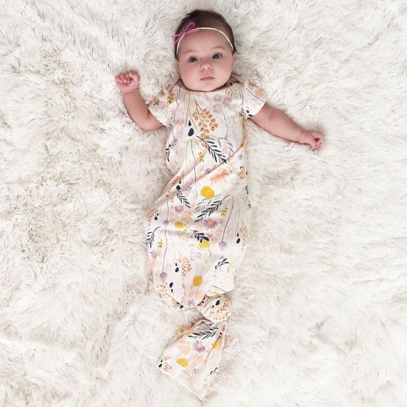 Baby Girl Take Home Outfit, Newborn Gown, Knotted Baby Gown, Baby ...