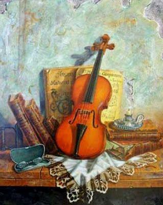 Club del Arte Latino: Violines pintados en óleo