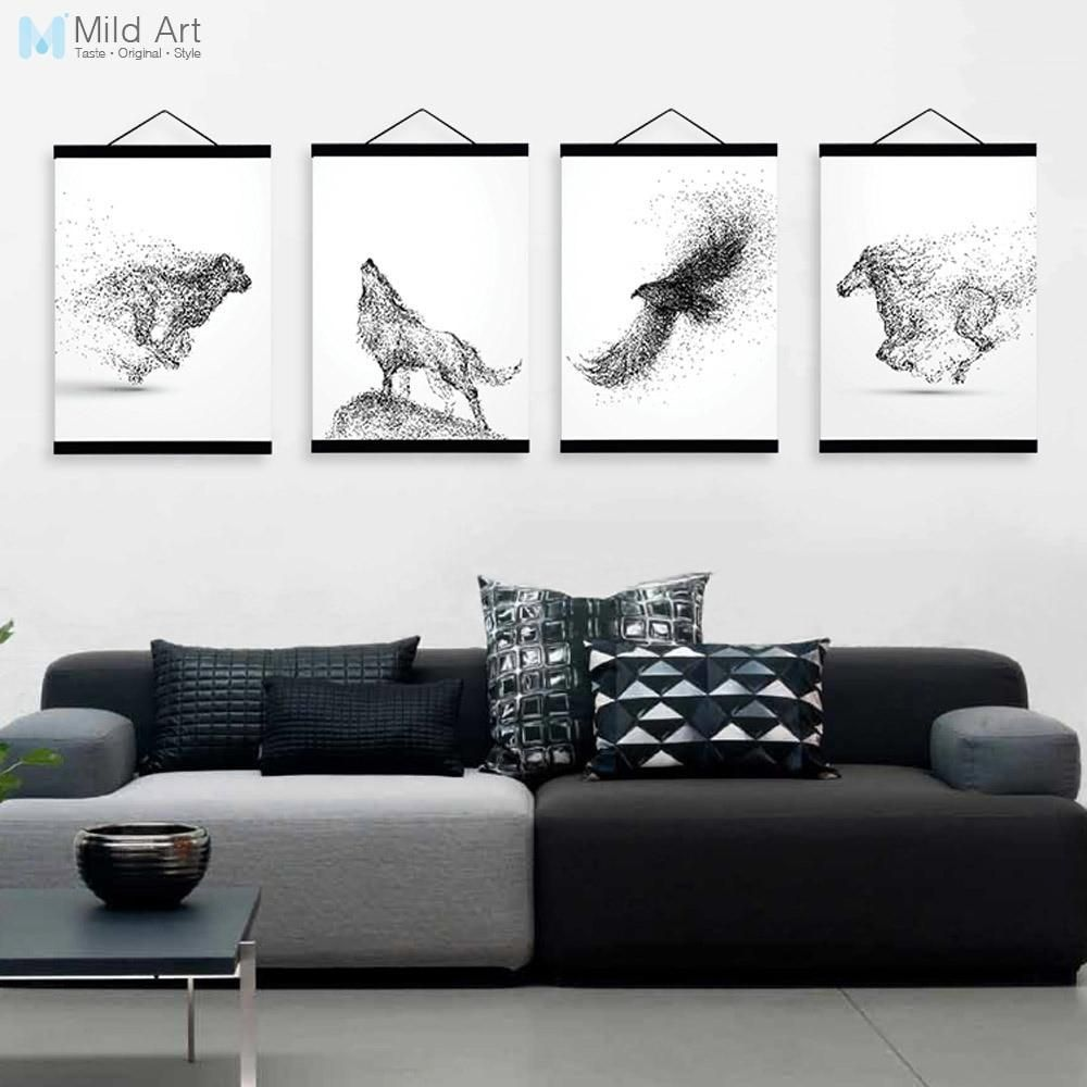 Abstract black white ink animal wolf a wooden framed poster