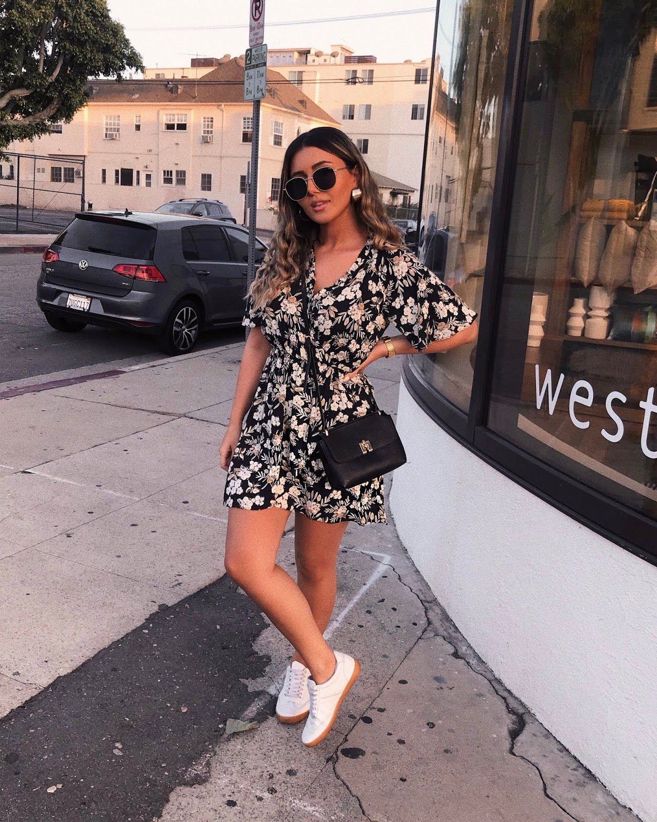How To Style Dresses With Sneakers Floral Dress Summer 2018 Trends Mango Cross Dress And Sneakers Outfit Floral Dress Outfit Summer Summer Dress Outfits [ 1600 x 1279 Pixel ]