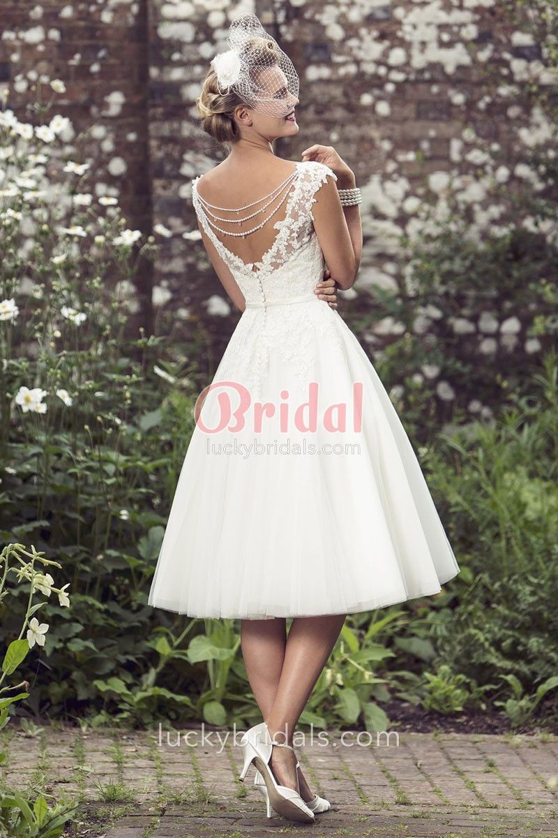 Ivory Lace and Tulle Knee Length Short Wedding