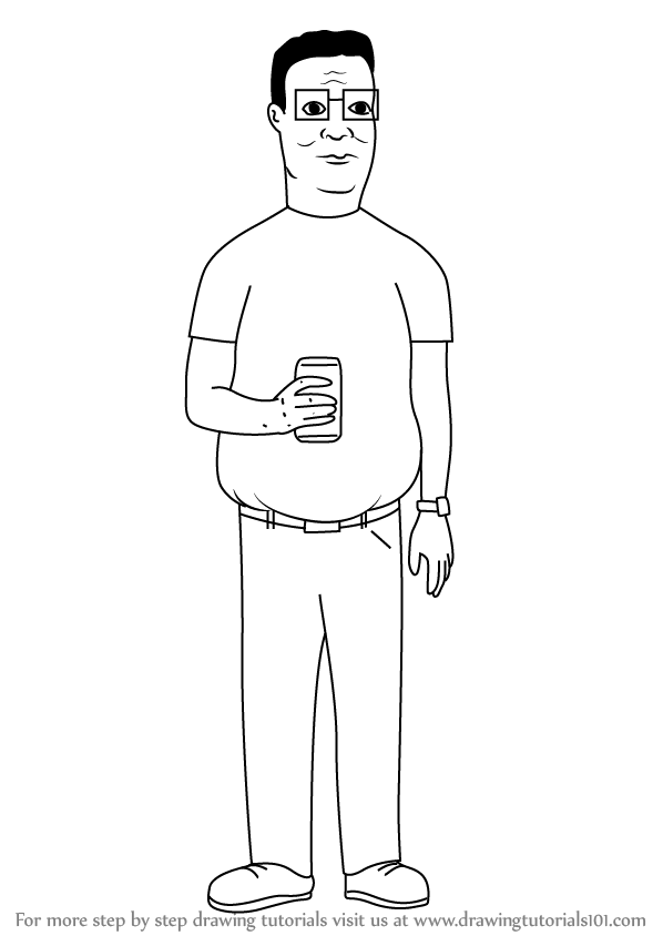 Learn How To Draw Hank Hill From King Of The Hill King Of The Hill Step By Step Drawing Tutorials King Of The Hill Coloring Pages For Kids Drawings