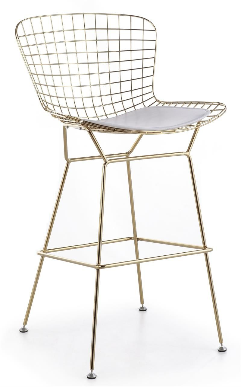 Bertoia Wire Bar Stool In Gold Finish Modernselections