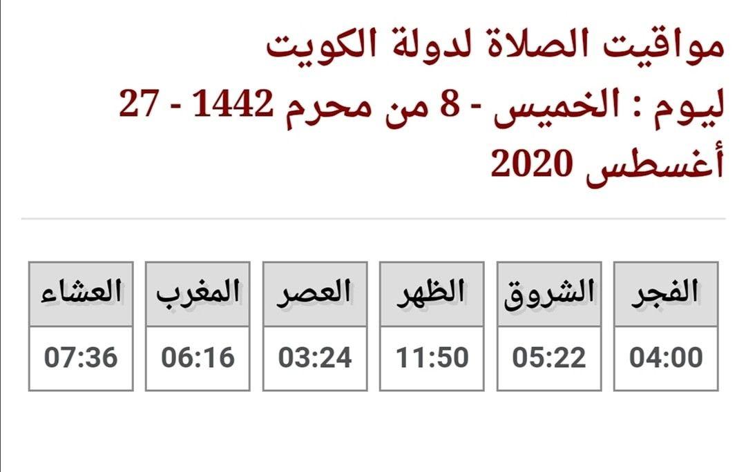 Pin By فوزيه بوشهري On مواقيت الصلاة في دولة الكويت In 2020 Math Equations Calligraphy