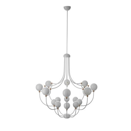 This striking twelve light chandelier in two tiers has a delicate structure in hand forged iron with a polished copper finish and was designed by matteo