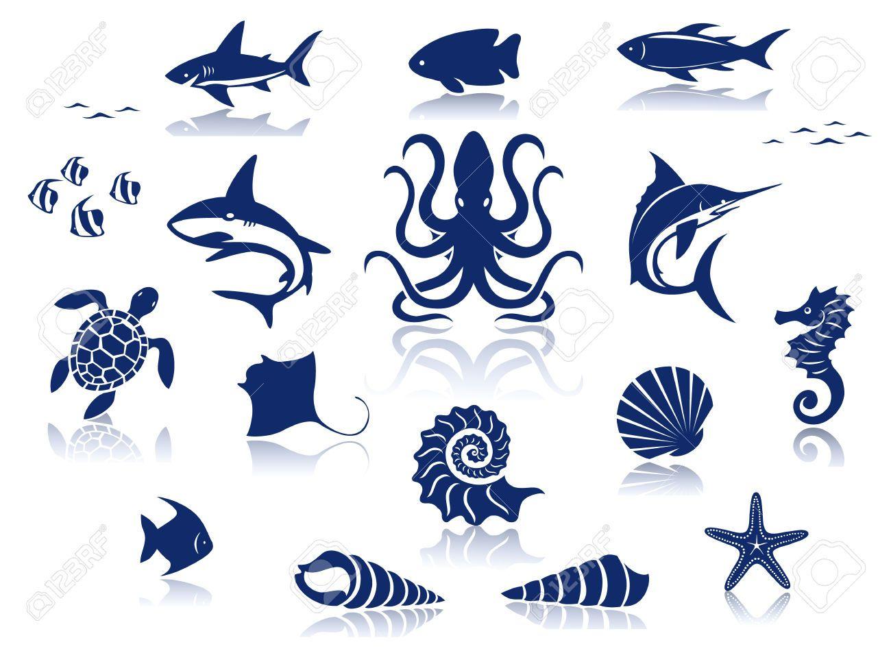sea icons Google Search Reflection poster, Icon set
