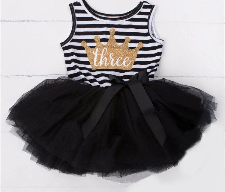 Little Girls Three 3 year old Birthday Dress - Gold Glitter Crown ...
