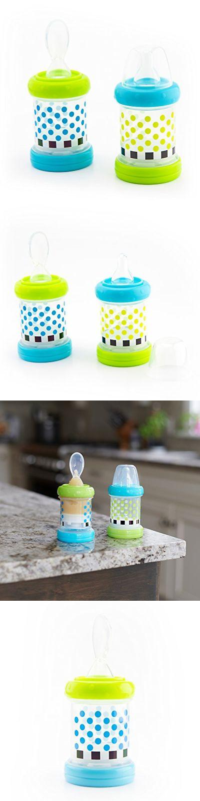 Baby Cereal Feeder Bottles Food Nurser Sassy Baby Set of 2 Count Nipple Spoon