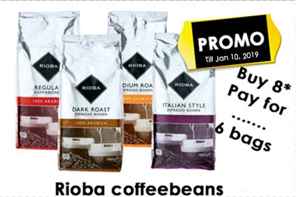 Rioba coffee beans. Special offer. 1 box (8 bags á 1