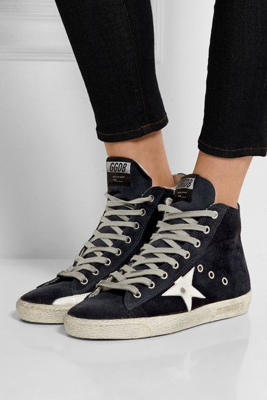 Golden Goose Womens Super Star Distressed Suede-paneled Leather Sneakers in White - Golden Goose Outlet