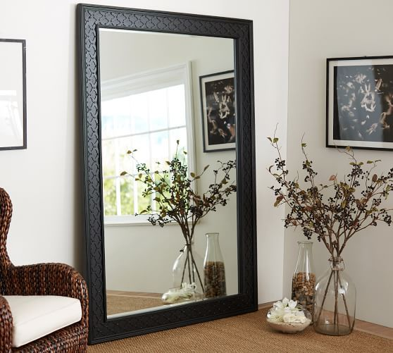 Black fretwork floor mirror floor mirror pottery and barn for Black framed floor length mirror