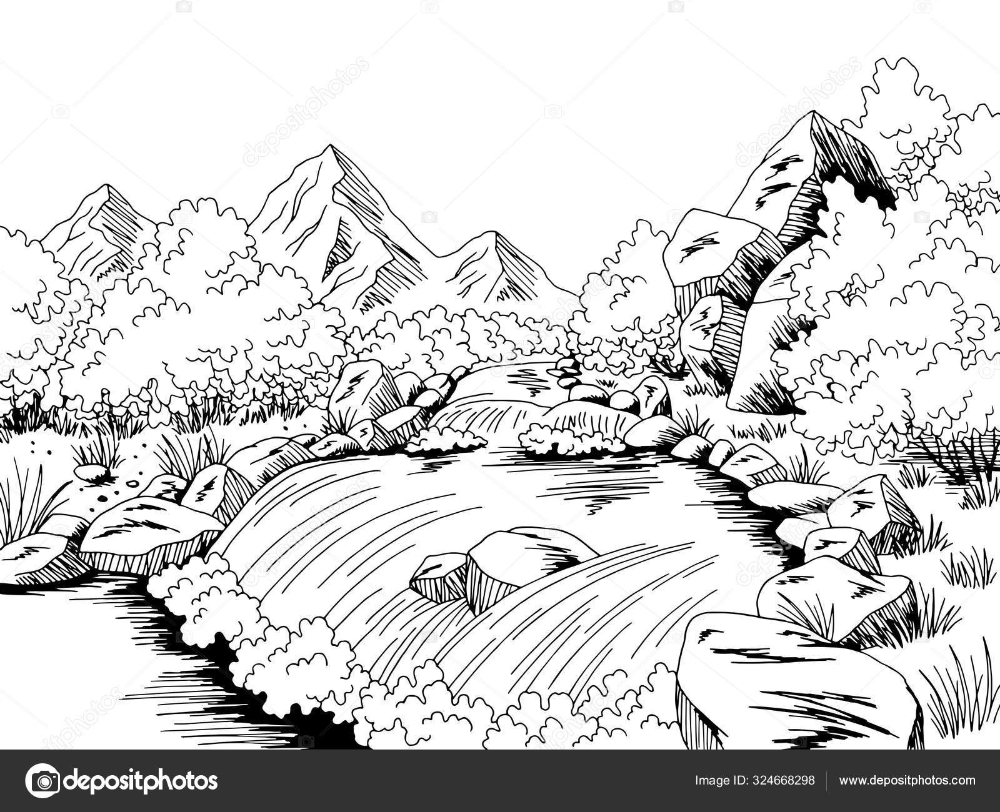 mountain river graphic black white landscape sketch illustration vector in 2020 black and white landscape landscape sketch illustration pinterest