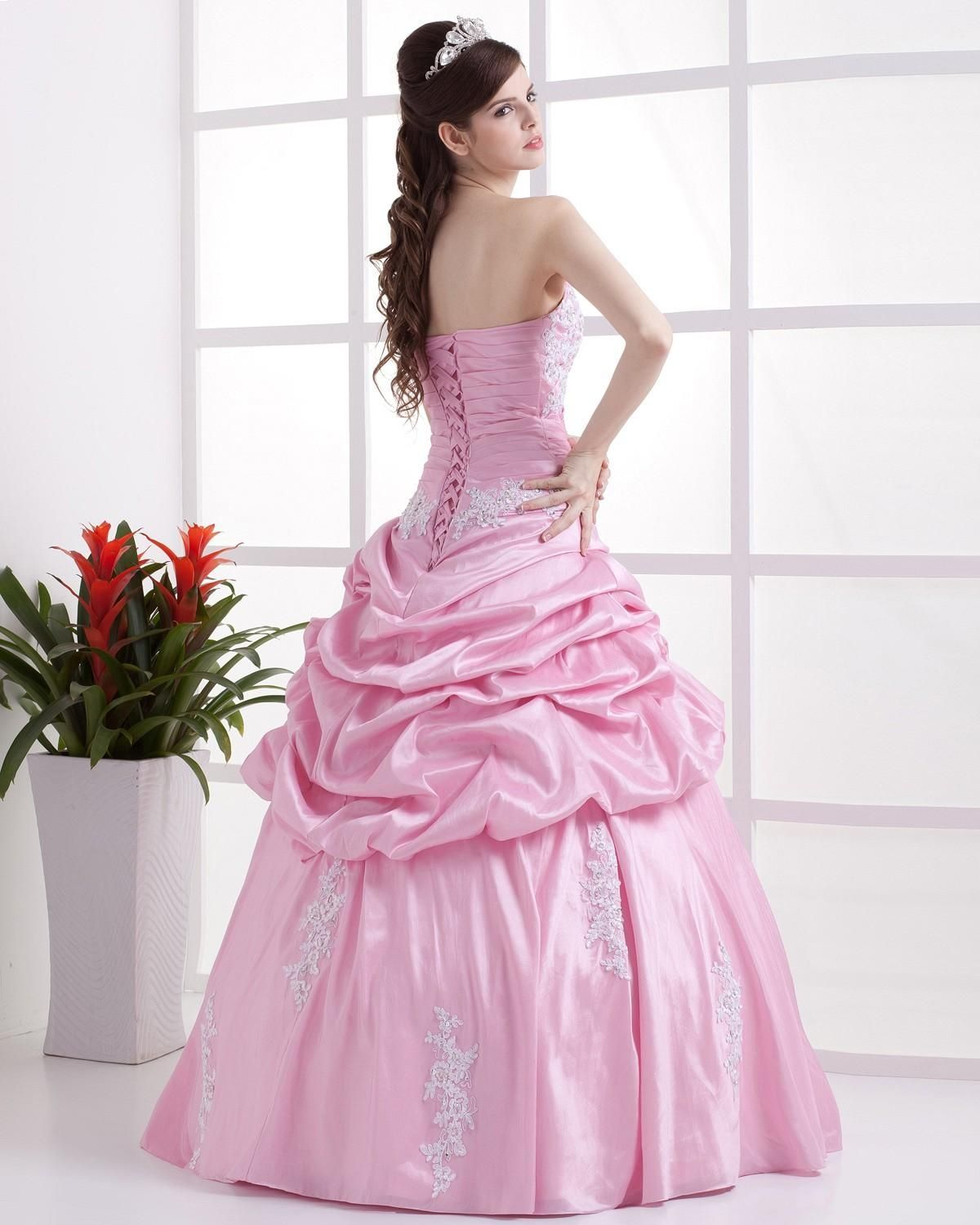 princess gowns | Ball Gown Applique Sweetheart Pink Princess Prom ...