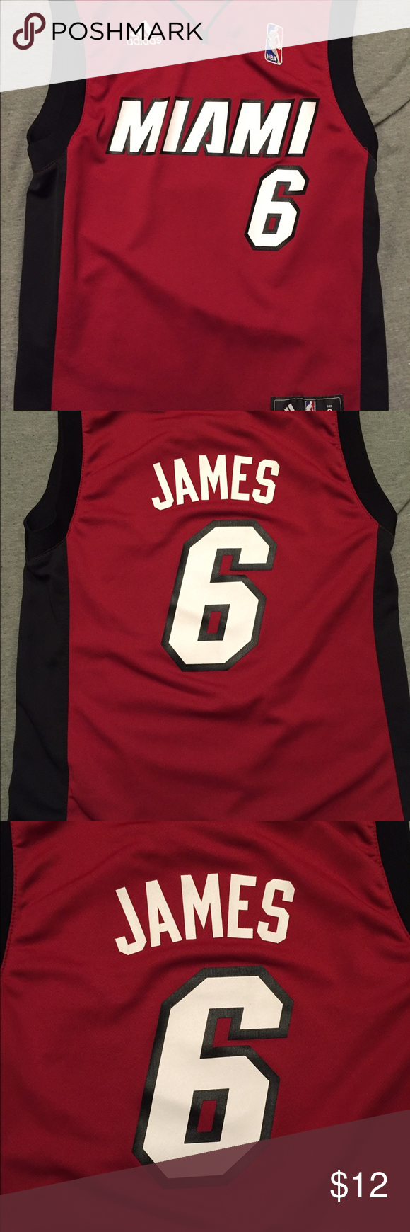 Miami Heat Lebron James kids Jersey size small Lebron James Heat jersey from Adidas. Good condition a few loose threads under the left armpit, was purchased that way. Adidas Other