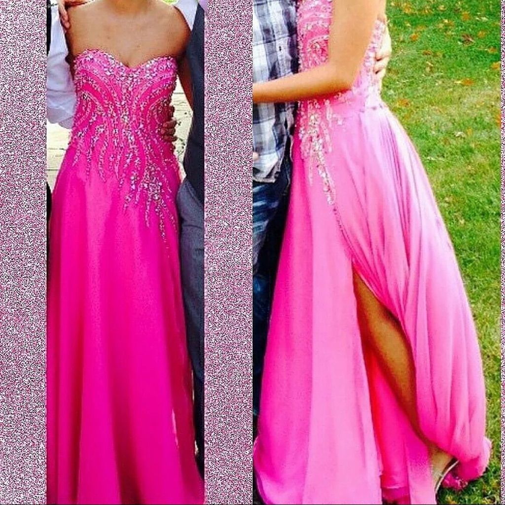 Long strapless pink dress with gems products