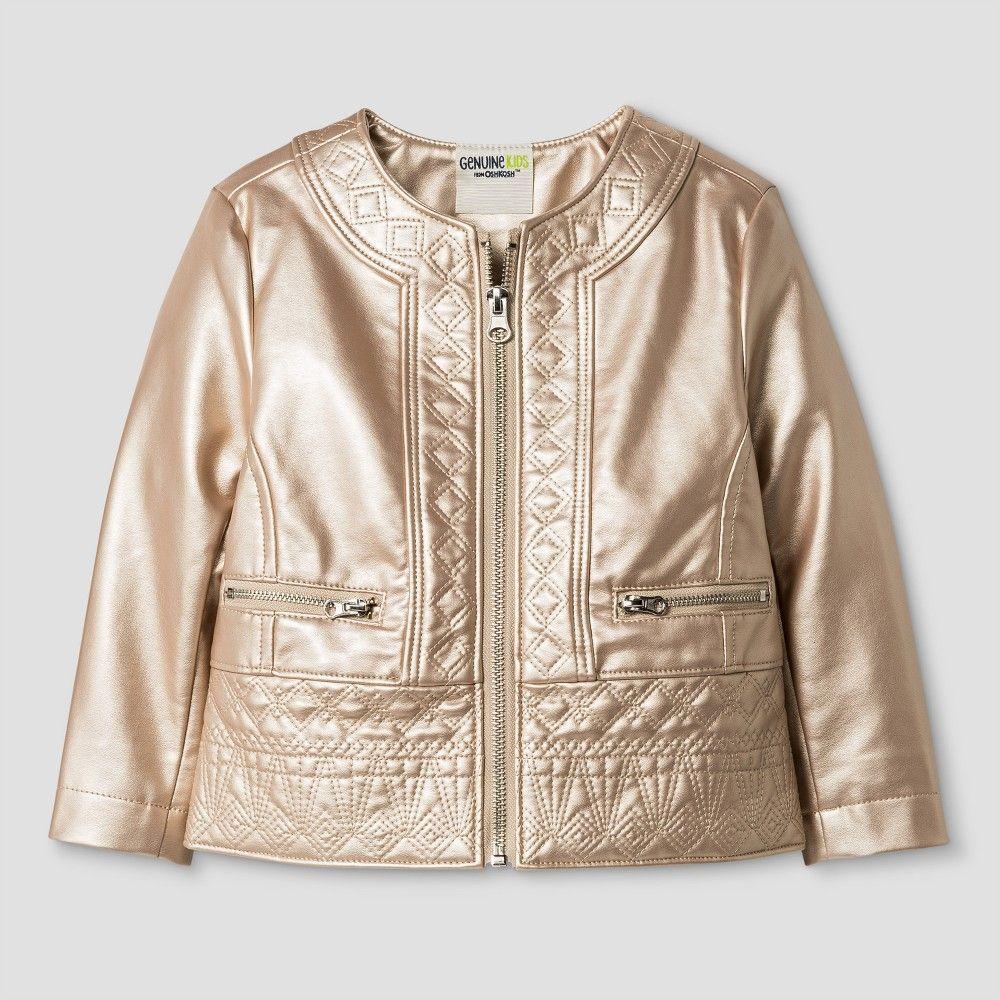 6029ed627 Toddler Girls  Moto Jacket - Genuine Kids from OshKosh Gold 12M ...