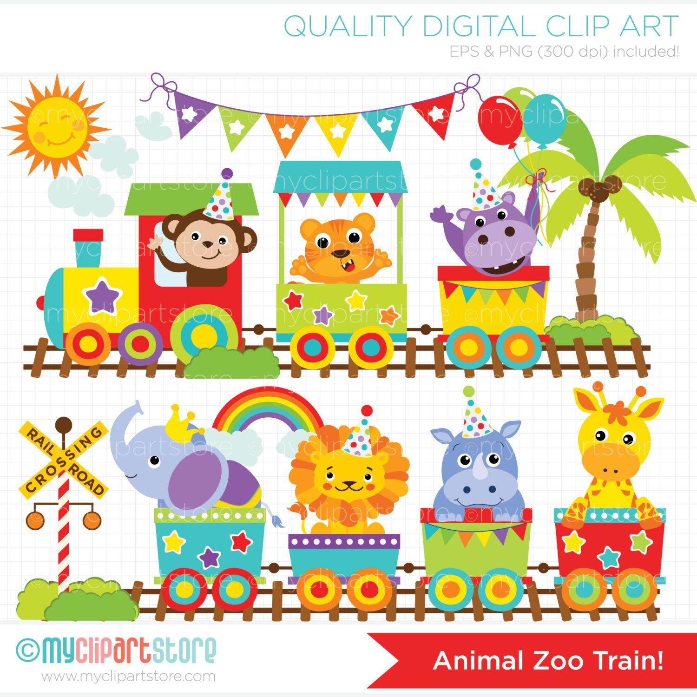 zoo train animal train clip art digital by myclipartstore [ 1500 x 1500 Pixel ]