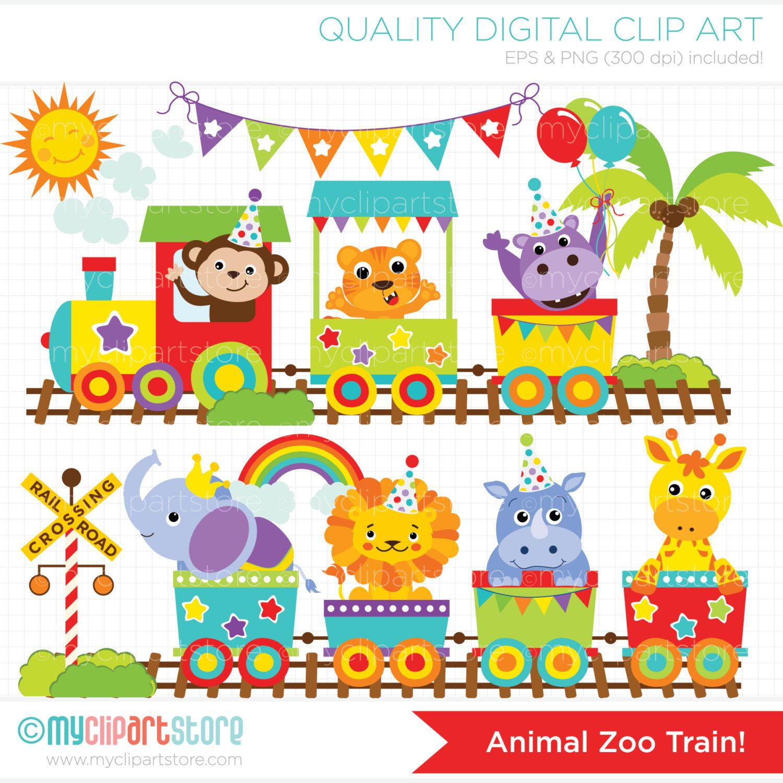 Zoo Train Clipart, Zoo Animals, safari, Jungle, circus