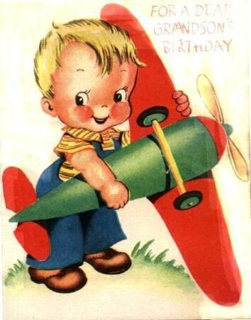 Young Boy Birthday Greeting Card Old Vintage Greeting Cards